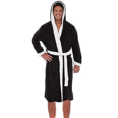 Men's Hooded Fleece Plush Soft Robe Full Length Long Bathrobe