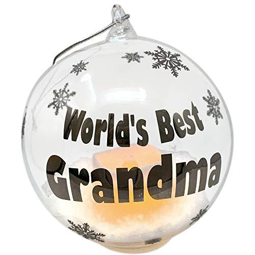 BANBERRY DESIGNS Grandma Christmas Ornament -World's Best Grandma Glass Globe Ornament - White Glittery Snow Globe- Gift for Grandma - LED Light Up Flameless Candle Inside Ball