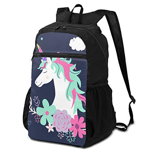 3D Printing Lightweight Packable Unisex Cute Unicorn with Flowers Modern Magical Backpacks,Storage Packet Bag,Portable Storage Bag,Travel Hiking Backpack Daypack for Men Boys