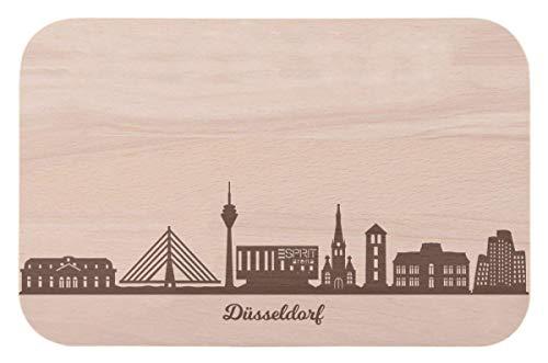 Frühstücksbrettchen Düsseldorf mit Skyline Gravur - Brotzeitbrett & Geschenk für Düsseldorf Stadtverliebte & Fans - ideal auch als Souvenir