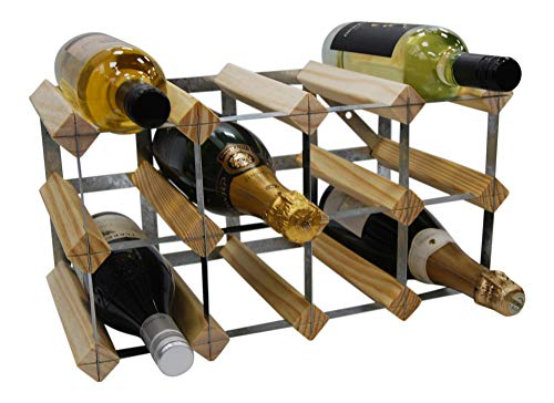 DS Wineware 12 Bottle 4X2 Traditional Wine Rack - Fully Assembled - FSC Certified Natural Pine