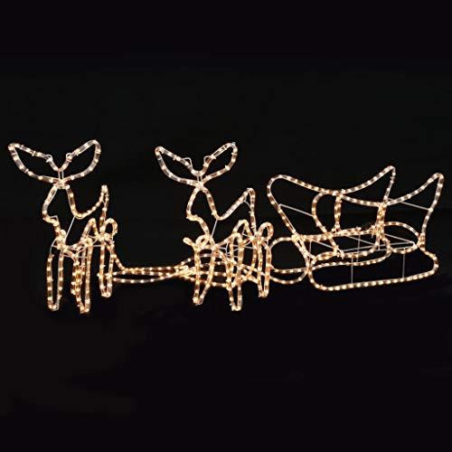 UnfadeMemory Weihnachtsbeleuchtung 2 Rentiere und Schlitten Wasserdicht Weihnachten Leuchtfigur Weihnachtsfigur 300x24x47 cm für Innen- und Außenbereich