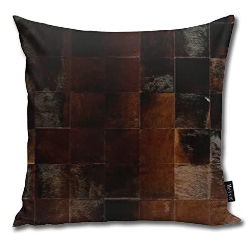 Ameok-Design Kuhfell Patchwork Samt Weicher Boden Mikrofaser Dekorative quadratische Kissenbezug für Sofa Schlafzimmer Auto mit unsichtbarem Reißverschluss 45,7 x 45,7 cm