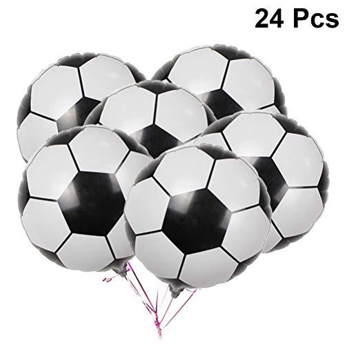 Amosfun 24Pcs Globos de fútbol 4D Balón de Aluminio de fútbol Globos Mylar Globos de fútbol Decoración de la Fiesta de cumpleaños de fútbol Suministros para Fiestas 18 Pulgadas