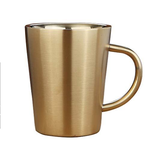 Verre à vin en acier inoxydable 320ml, verre à cocktail, verre à bière, tasse à thé, double tasse isolée, tasse à boisson, tasse à lait (Color : Gold)
