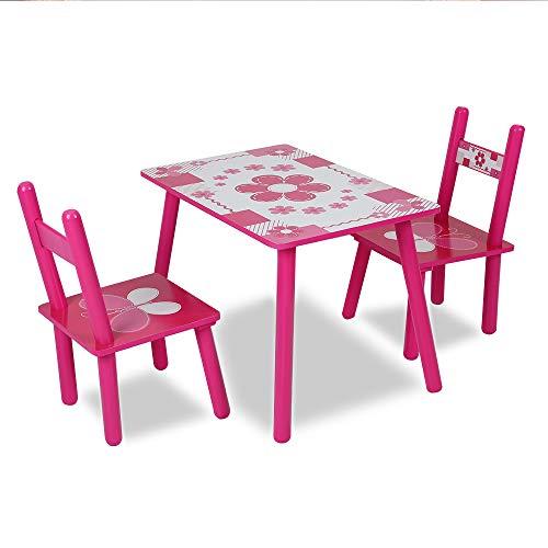 JueYan Enfants Table avec 2 chaises - Hauteur Optimale, Durable, Multiusage et Facile à Installer