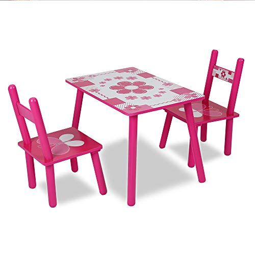 JueYan Enfants Table avec 2 chaises - Hauteur Optimale, Durable, Multiusage et Facile à Installer