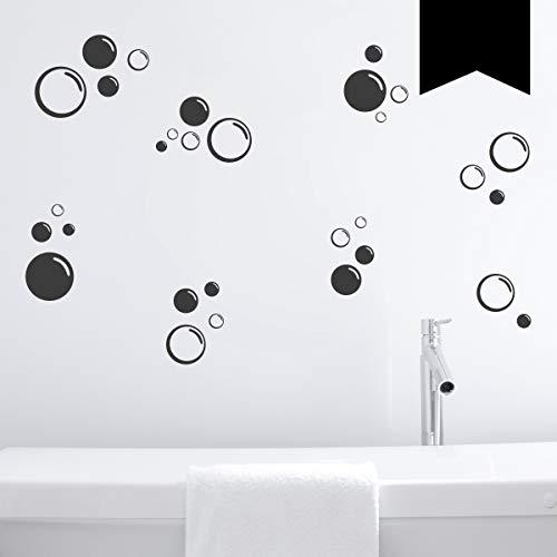 Wandkings Wandtattoo Seifenblasen im Set, 30 Stück Größe SMALL in schwarz - erhältlich in 33 Farben
