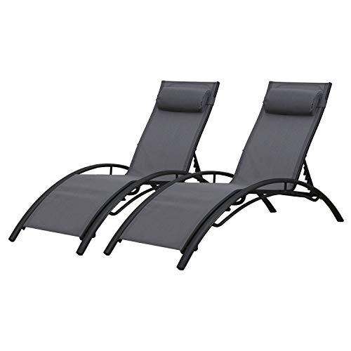 BAISAO - Bain de Soleil Courbé Textilène Aluminium - Inclinable - Coussin de Tête - Léger et Confortable - Gris/Gris Anthracite - X2