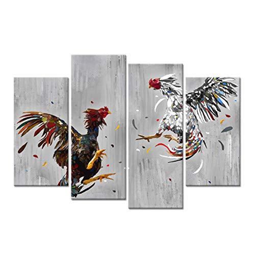 Animal de granja Lienzo Arte de la pared Peleas de gallos Cuadro Pintura Gallo Lámina Rústica Pollo País Cocina Decoración para el hogar / 30x60x2 30x80cmx2-Sin marco