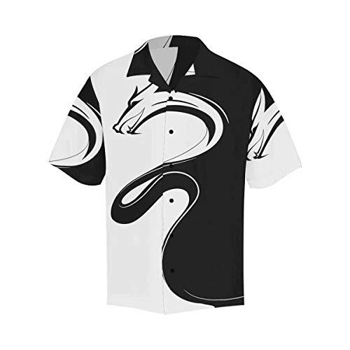 INTERESTPRINT Men's Casual Button Down Short Sleeve Hawaiian Shirt Dragon Black and White XXL