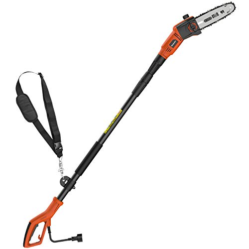 MAXLANDER 8-Inch Corded Pole Saw, 6A Corded Pole Chainsaw, Light Weight Telescopic Pole Saw for Tree Trimming, Tool-free Installation