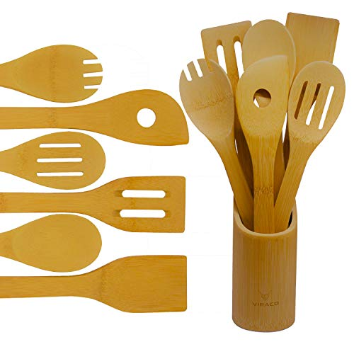 Wooden Bamboo Cooking Spoon Set - 7 Pieces Organic Utensils Set With Holder Kitchen Wood Spoons Turner And Spatula For Nonstick Cookware Daily Use