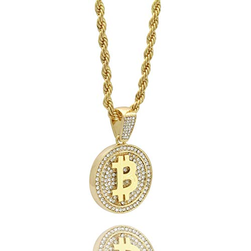 Mens 14k Gold Plated Hip Hop Bitcoin Fully Cz Pendant 5mm 24