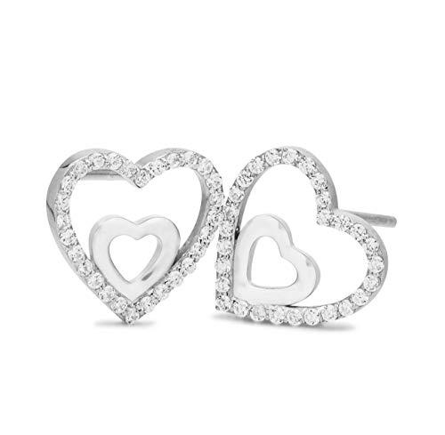 NANA KAY Double Happiness ST1358 - Pendientes de corazón con circonitas