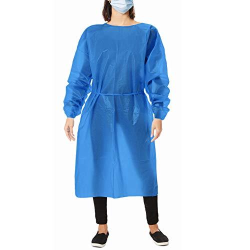 AMZ - Bata de polietileno azul Paquete de 10 batas desechables para adultos XXL Faja de polietileno resistente a los fluidos con mangas largas, cuello y cintura Bata unisex no estéril para necesidades industriales.