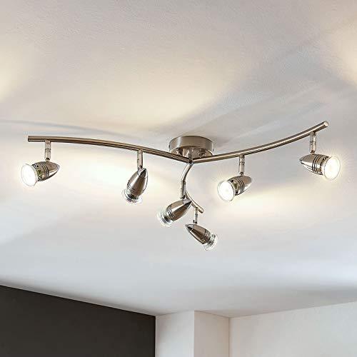 Lampenwelt LED Deckenlampe 'Benina' (Modern) in Alu aus Metall u.a. für Wohnzimmer & Esszimmer (6 flammig, GU10, A+, inkl. Leuchtmittel) - Deckenleuchte, Wandleuchte, Strahler, Spot, Lampe