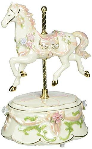 Cosmos 80039 Spielfigur Karussell Pferd aus feinem Porzellan, 20,3 cm, Rosa