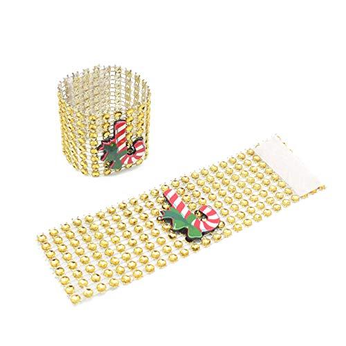 SweetWU - Juego de 10 anillos de servilleta con diseño de dibujos animados navideños con hebilla de diamantes de imitación, color dorado