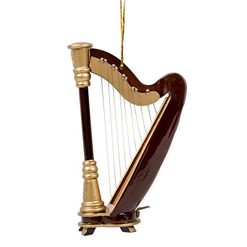 Broadway Gift Wooden Minature Harp Music Musical Instrument Christmas Ornament Decoration,Multicolor,3 x 4.5