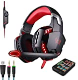 Voice Changer Gaming Headset for Phone/PS4/Xbox/Switch/IPad/Computer/Kids, Over-Ear Headphones with Volume Control LED Light Cool Style Stereo for PS4,PC,Xbox One (2-Red)