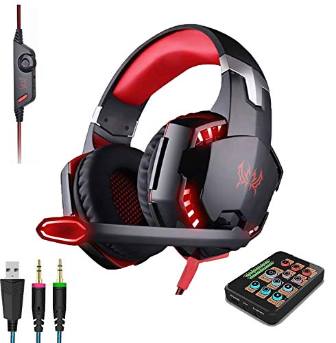 Voice Changer Gaming Headset for Phone/PS4/Xbox/Switch/IPad/Computer/Kids, Over-Ear Headphones with Volume Control LED Light Cool Style Stereo for PS4,PC,Xbox One (C)