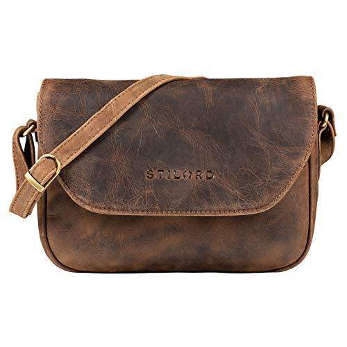 STILORD 'Esther' Damen Handtasche Umhängetasche Echtleder Vintage Ledertasche zum Ausgehen Klassische Abendtasche Partytasche Freizeittasche Leder, Farbe:mittel - braun