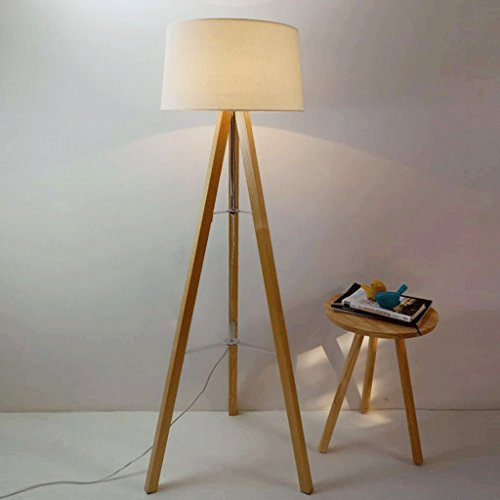 Lampe de plancher creative blanc trépied solide bois lampadaire/nordique salon chambre table de chevet lampe/rétro éclairage A+