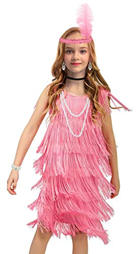 Latin Dance Dress for Girls Ballroom Dancing Dresses for Kids Flapper Dress with 20s Accessories Set (Small, Style 1 Pink)