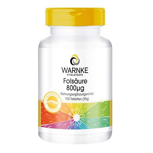 Acido folico 800 mcg - Importante durante la gravidanza - Sostanza pura - 100 compresse