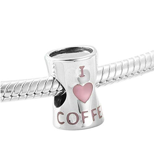 I Love Coffee Bead Charm 925 Sterling Silver Heart Cup Charm Bead fit 3mm Pandora Bracelets - Coffee cup lovers (Pink Coffee Cup)