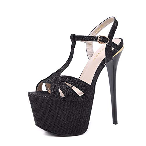 HBDLH-Damenschuhe/Hip-Hop-Schuhe 17Cm High Heels Sandalen Modelle Dünnen Boden Wasserdicht Tabellen Nachtclub-Schuhe.34 Schwarz