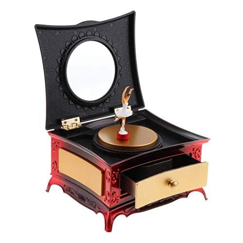 Scatola Portagioie Accessori Cosmetici O Strument Carillon For Ballerina Vintage For Ragazze, Portagioie For Ballerino Con Cassetto Scatole Per Gioielli Per Regalo Di Accessori Per G (Color : Red)
