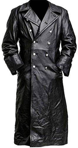 German Style Classic Officer WW2 Military Uniform Black Leather Trench Coat (5X-Large (Best for Chest Size 54), Black)