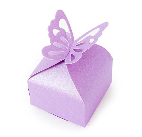 MissBirdler 12 geschenkdozen paars luxe geschenkverpakking vlinder vouwdoos 6x6x5cm geschenkkarton opbergdoos vouwtas doos voor verjaardag huwelijk geschenk set geboorte doop sieraden