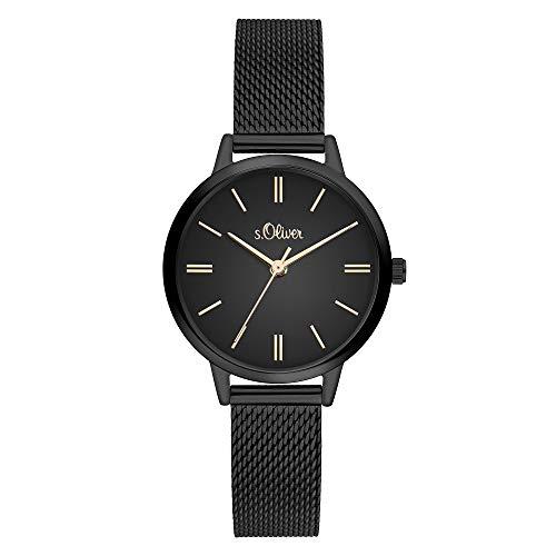 s.Oliver Damen Analog Quarz Armbanduhr mit Edelstahlarmband SO-3807-MQ