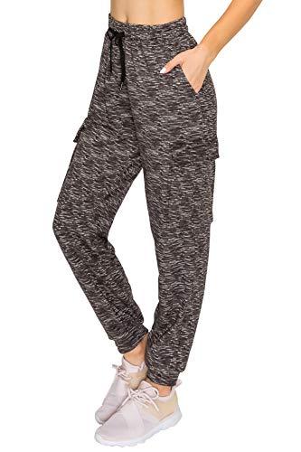 ALWAYS Women's Fleece Cargo Jogger Pants - Premium Soft Winter Warm Sweatpants Space Dye Black S