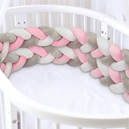 Luchild Bettumrandung Babybett Baby Nestchen Bettumrandung Weben Geflochtene Stoßfänger Dekoration für Krippe Kinderbett (200cm Grau+weiss+Pink)