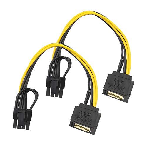 2 cables SATA de 15 pines macho a 8 pines PCI-Express hembra de adaptador de alimentación intercambiables de 6 pines para unidad de disco duro