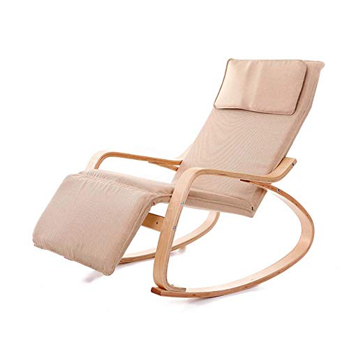 Bent Wood Rocking Chair Garden Sun Lounger Chair,Removable Washable Multifunctional Birch Lazy Recliner
