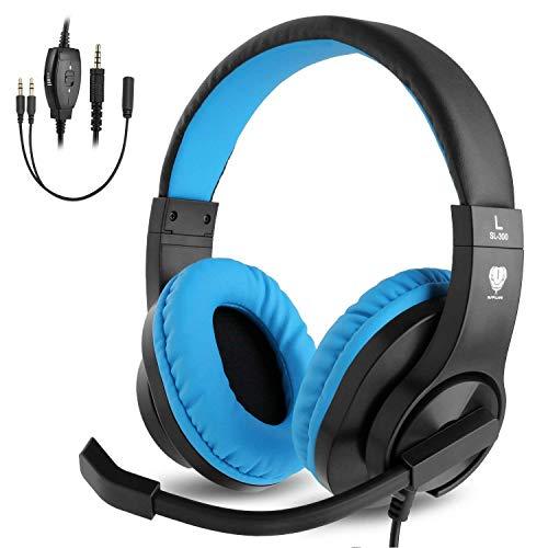 BlueFire Casque Gaming pour PS4 Xbox One, Casque Gamer Stéréo Anti-Bruit Basse avec Micro, Contrôle du Volume, Bandeau Réglable pour PC Laptop Tablette Smartphones (Bleu)