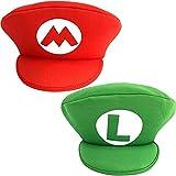 YEPSS Juego de marca compartida Luigi Cap Disfraz para adultos y niños Carnaval y Cosplay Classic Cappy Cap 2 pares de gorra