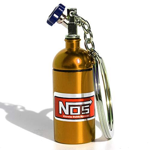VmG-Store Mini NOS Stickstoffoxidflasche für Schlüsselanhänger Deckel abschraubbar (Gold)