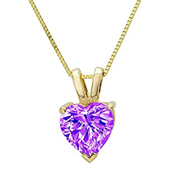 0.45 ct Brilliant Heart Cut Natural Purple Amethyst Ideal VVS1 Solitaire Pendant Necklace With 16  Gold Chain box Solid Real 14k Yellow Gold