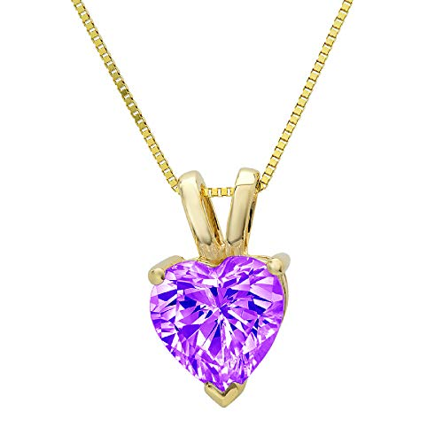 0.45 ct Brilliant Heart Cut Natural Purple Amethyst Ideal VVS1 Solitaire Pendant Necklace With 16' Gold Chain box Solid Real 14k Yellow Gold