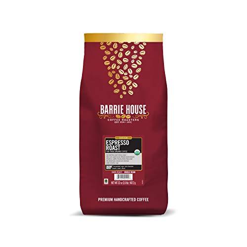 Barrie House Espresso Roast Whole Bean Coffee, 2 lb Bag   Fair Trade Organic Certified   Dark Roast   Sweet and Robust Flavor  100% Arabica Coffee Beans
