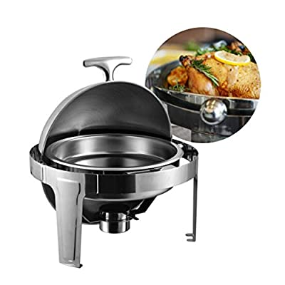 6qt Round Roll Top Ttainless Steel Chafer Sets with Food Pan,Water Pan,Fuel Holder-Food Warmer for Buffet,Catering,Parties-Beautiful and Durable Buffet Stove with Sturdy Frame for All Events