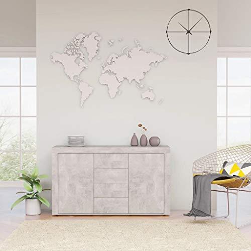 vidaXL Aparador Muebles de Cajones Almacenaje Buffet para Salón Comedor Dormitorio Casa Oficina Hogar de Aglomerado Gris Hormigón 120x36x69 cm