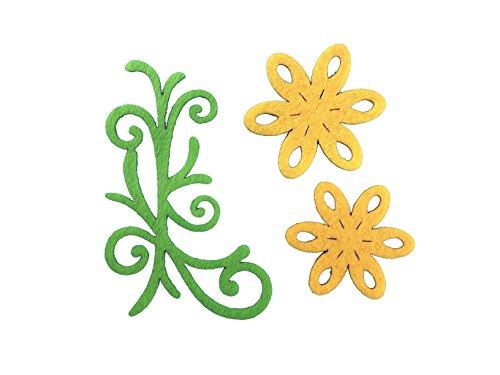 Petra S Kit Creativo News a vif1530F07Feltro Fiori Set, 3Diversi Designs, 30Pezzi, Feltro Colore: Giallo/Verde Mela