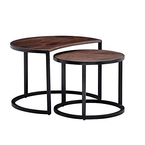 FineBuy Couchtisch 2er Set Mango Massivholz/Metall Wohnzimmertisch Rund | Industrial Beistelltisch mit Metallbeine Schwarz | Tischset 2-teilig Satztisch Holz